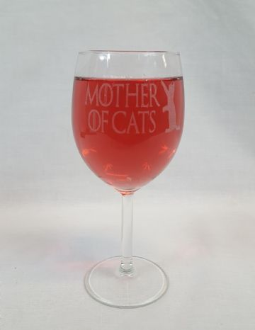 "Game of Thrones Inspired ""Mother of Cats"" Engraved Novelty Wine Glass"